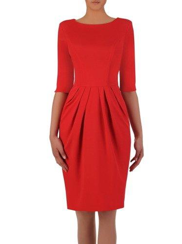 Sukienka z zakładkami Łucja III, elegancka kreacja z efektownym marszczeniem.