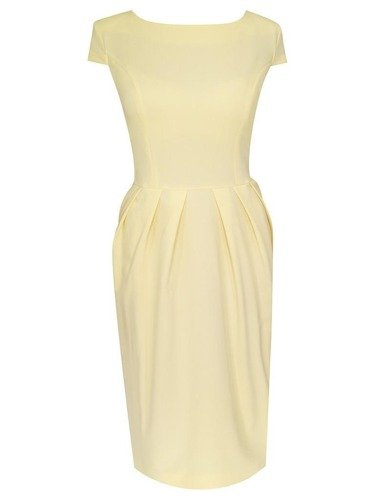 Sukienka z zakładkami Łucja IX, elegancka kreacja z efektownym marszczeniem.