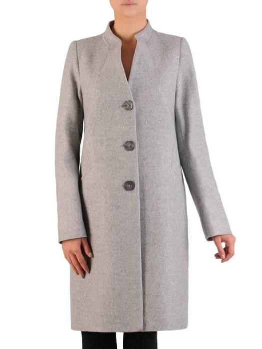 Szary płaszcz ze stójką 27099