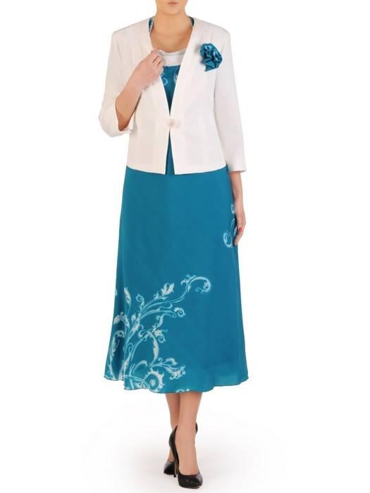Szmaragdowa sukienka z białym żakietem, modna kreacja na wiosnę 29092