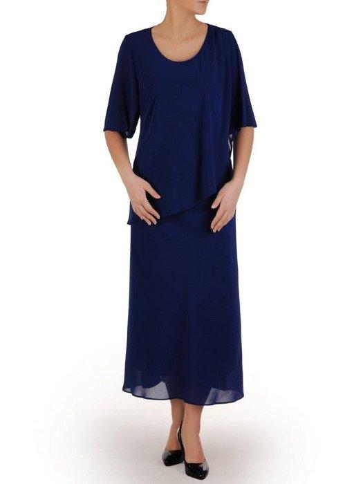 Szyfonowa sukienka maxi, kreacja z maskującą narzutką 24760