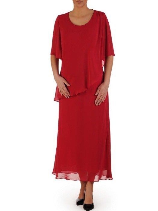Szyfonowa sukienka maxi, kreacja z maskującą narzutką 25086