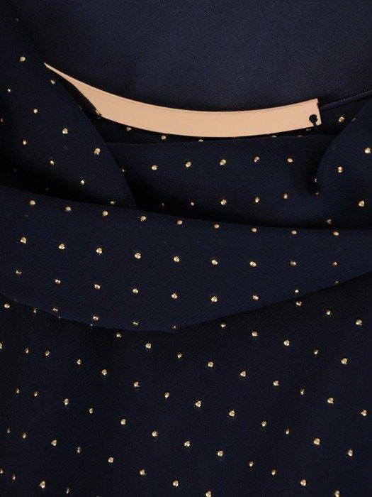 Szyfonowa sukienka o długości maxi, kreacja zdobiona dżetami 24319