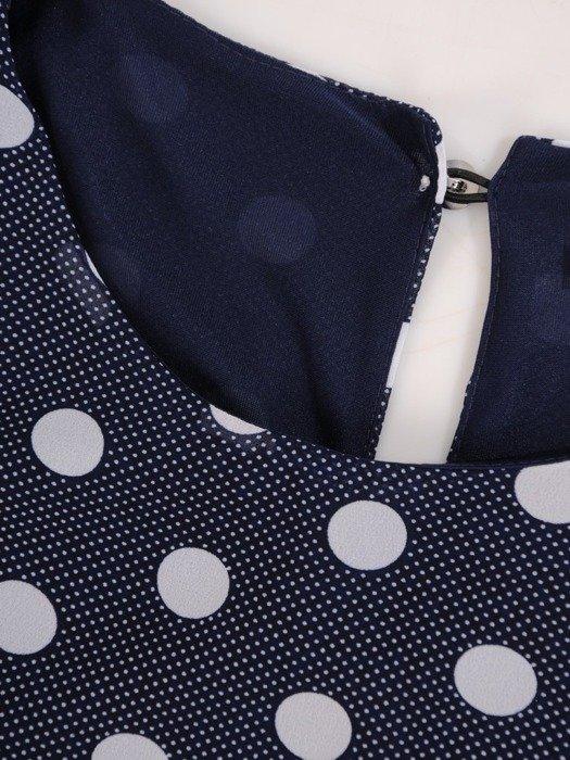Szyfonowa sukienka o trapezowym kroju, kreacja w grochy 25268