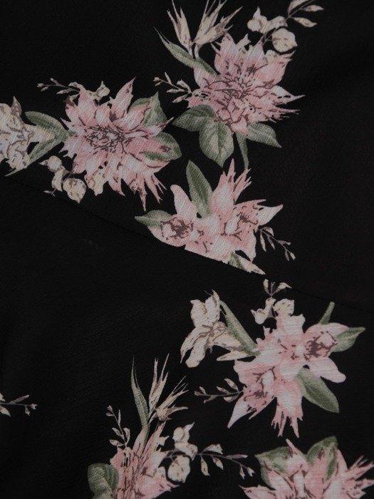 Szyfonowa sukienka z guzikami przy dekolcie, w oryginalnym wzorze 25201