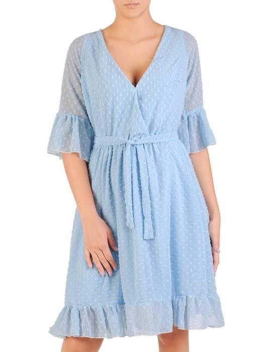 Szyfonowa sukienka z kopertowym dekoltem i falbankami 30225