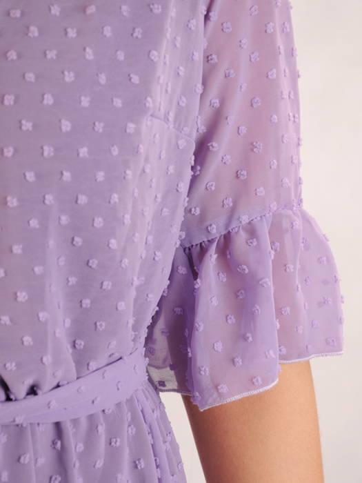 Szyfonowa sukienka z kopertowym dekoltem i falbankami 30396