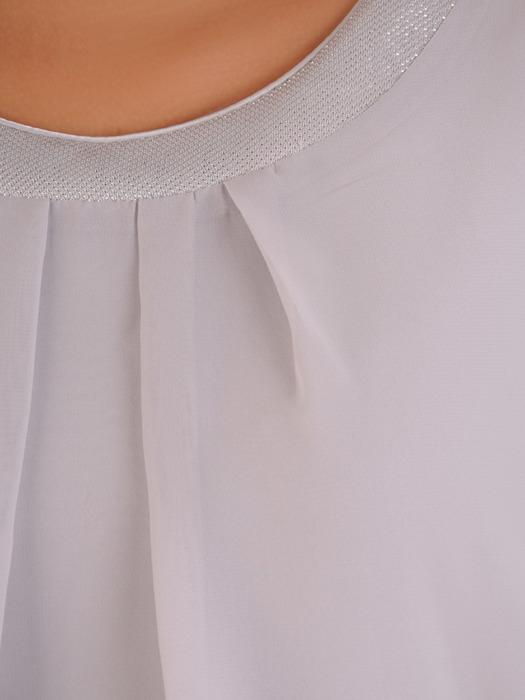 Szyfonowa sukienka z połyskującą listwą, luźna kreacja w modnym fasonie 21163