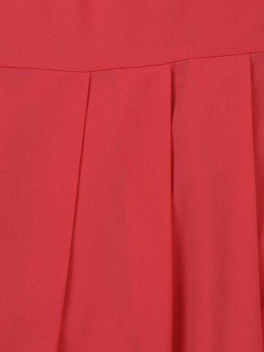 Szyfonowa suknia Aurelia II, koralowa kreacja z rozkloszowanym dołem.