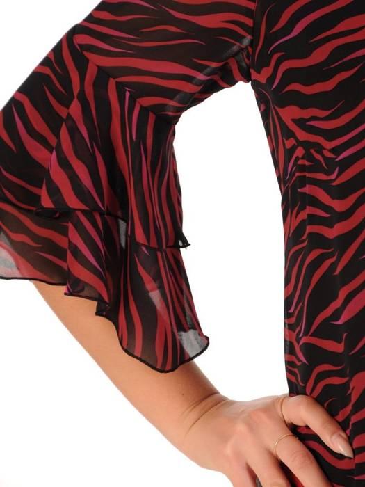 Trapezowa kreacja, bordowa sukienka z szyfonu 27896