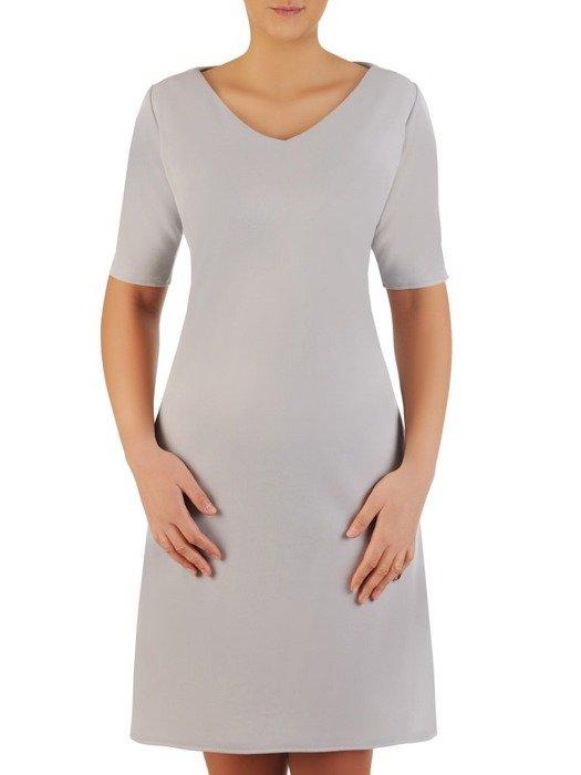 Trapezowa sukienka z kieszeniami, kreacja z połyskiem 22655
