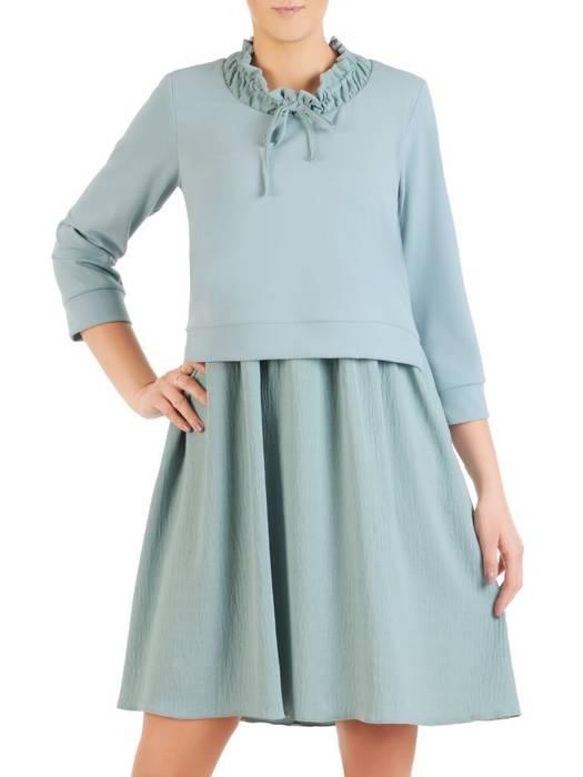 Trapezowa sukienka z łączonych tkanin w pastelowym kolorze 29025