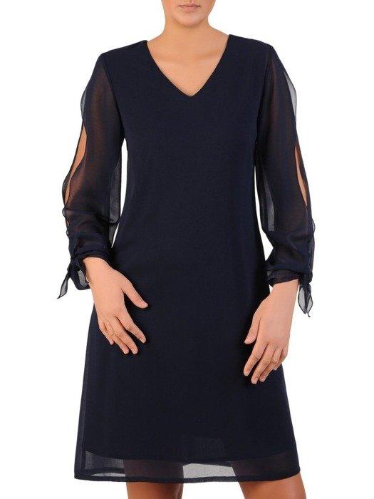 Trapezowa sukienka z szyfonowymi, rozciętymi rękawami 23969