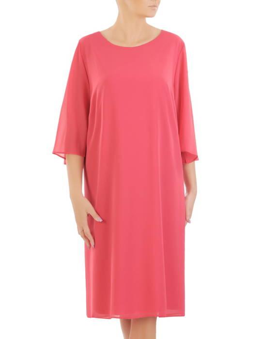 Trapezowa sukienka z szyfonu, kreacja z perełkami na rękawach 24724