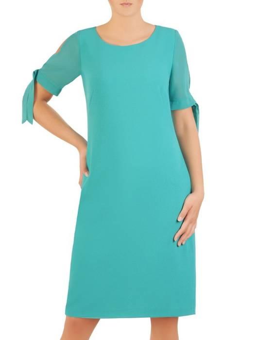 Turkusowa sukienka z szyfonowymi rękawami 30032