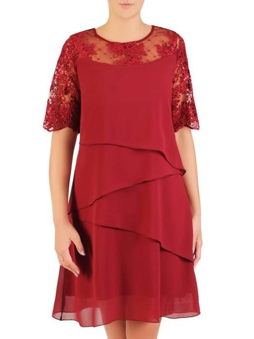 Warstwowa sukienka z szyfonu, kreacja z koronkowym karczkiem 30471