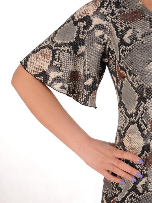 Wężowa sukienka z modnymi rękawami, elegancka kreacja o prostym kroju 20544