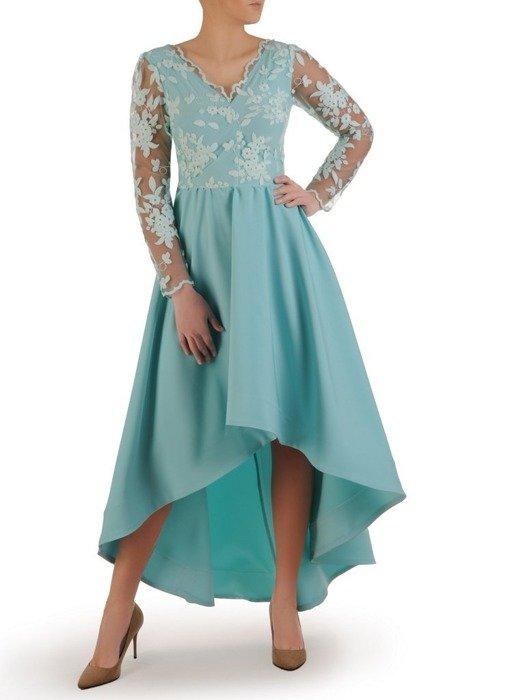 Wieczorowa asymetryczna sukienka, jasna kreacja z koronkową górą 24863