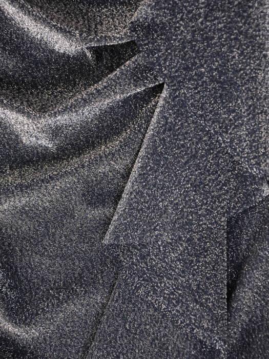 Wieczorowa, połyskująca sukienka z pionową falbaną 30977