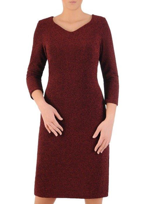 Wieczorowa sukienka, modna kreacja z połyskującej dzianiny 24300