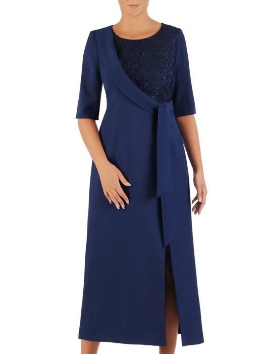 Wieczorowa sukienka wyszczuplająca, kreacja z ozdobną szarfą 27016