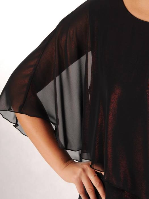 Wieczorowa sukienka wyszczuplająca, kreacja z szyfonową narzutką 27256