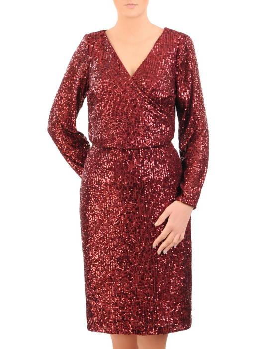 Wieczorowa sukienka z cekinów, kreacja z kopertowym dekoltem 30761