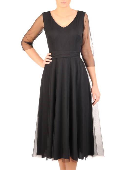 Wieczorowa sukienka z czarnego tiulu w rozkloszowanym fasonie 31126