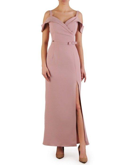 Wieczorowa suknia na cienkich ramiączkach, długa pastelowa kreacja 25135