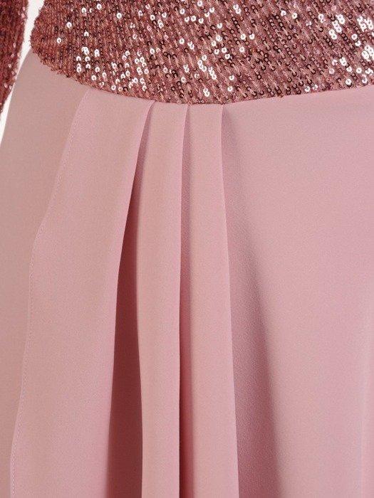 Wieczorowa suknia z cekinowym zdobieniem, pastelowa kreacja maxi 24882