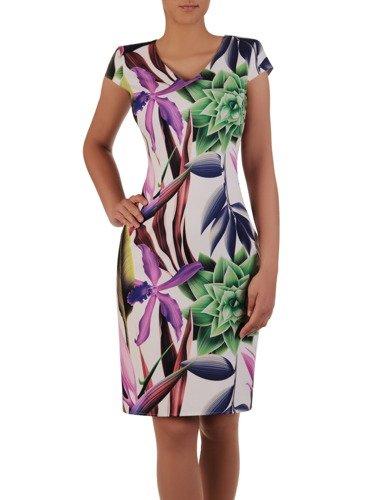 Wiosenna sukienka z efektownym, roślinnym nadrukiem 16425.