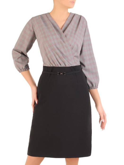 Wizytowa sukienka damska, kreacja z kopertowym dekoltem 28031
