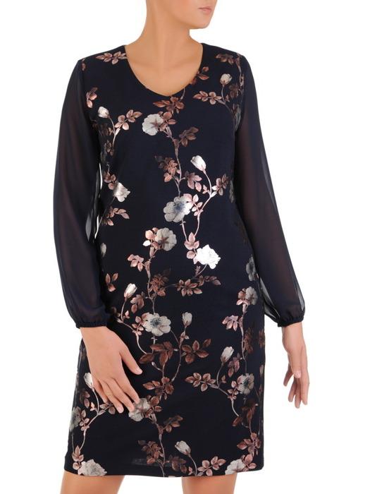 Wizytowa sukienka z modnym, połyskującym nadrukiem kwiatowym 21925