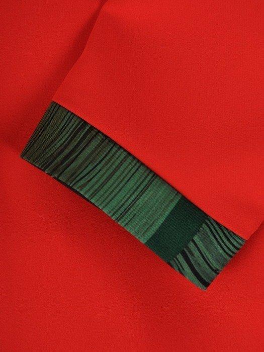 Wizytowy komplet damski, wzorzysta sukienka z czerwonym żakietem 25860