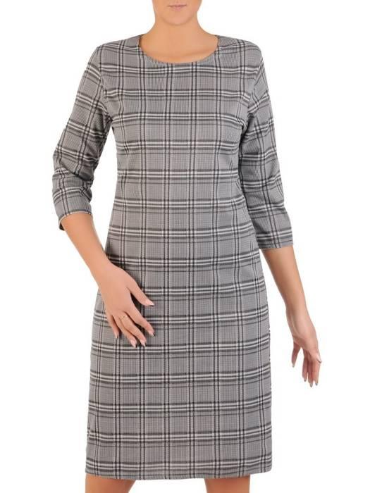 Wygodna dzianinowa sukienka damska w kratkę 27705