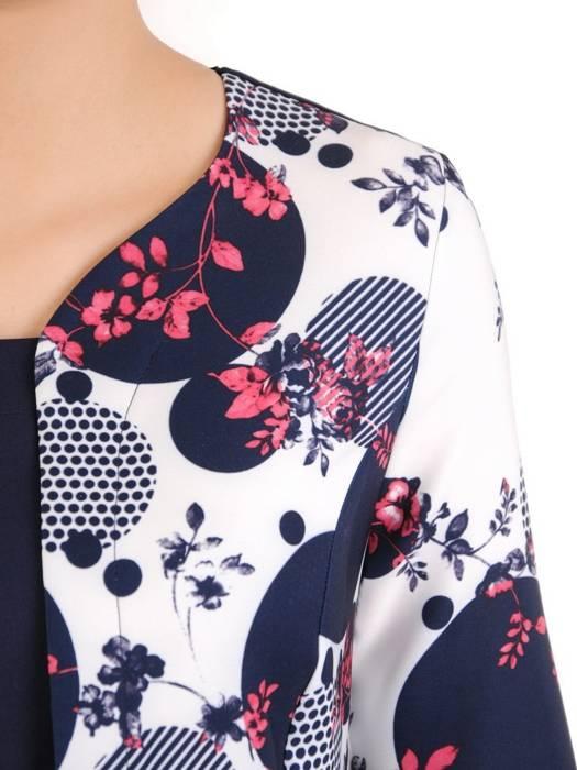 Wyszczuplająca sukienka w kwiaty z imitacją żakietu 29770
