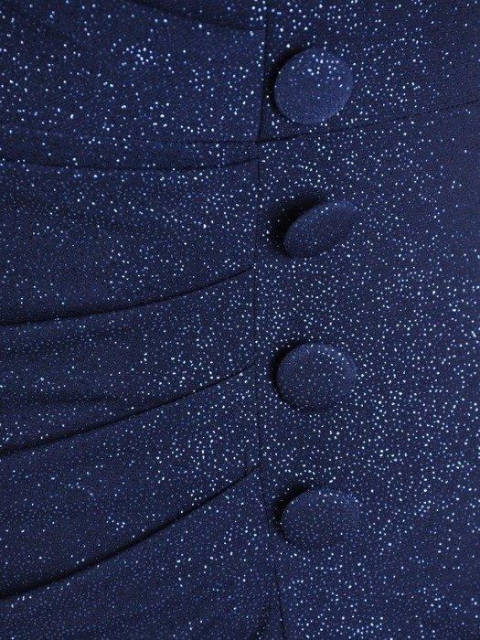 Wyszczuplająca sukienka z guzikami, kreacja z ozdobnym marszczeniem 26817