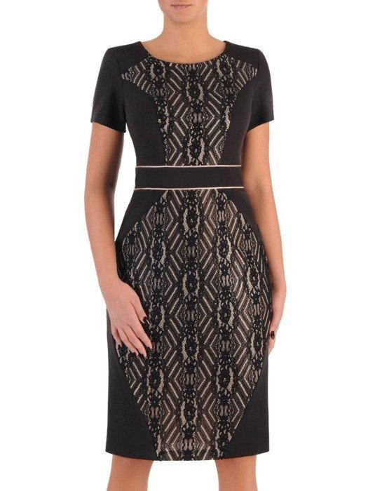 Wyszczuplająca sukienka z koronką 18273, nowoczesna kreacja na wieczór.