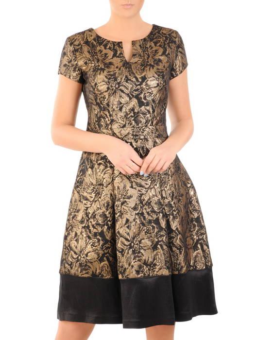 Żakardowa sukienka wieczorowa, kreacja z kontrafałdami 31212