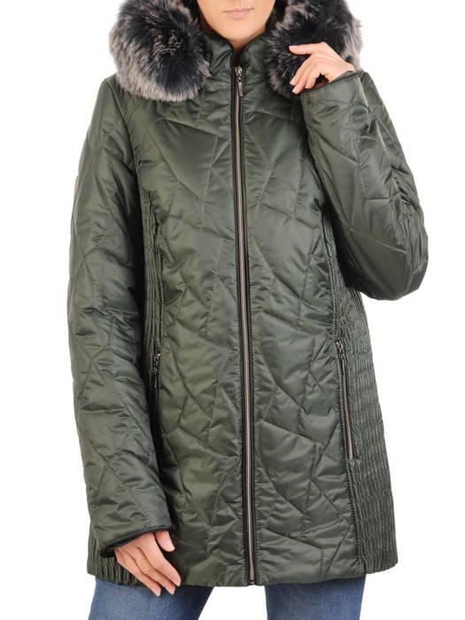 Zielona kurtka damska z ozdobnym futerkiem 31095