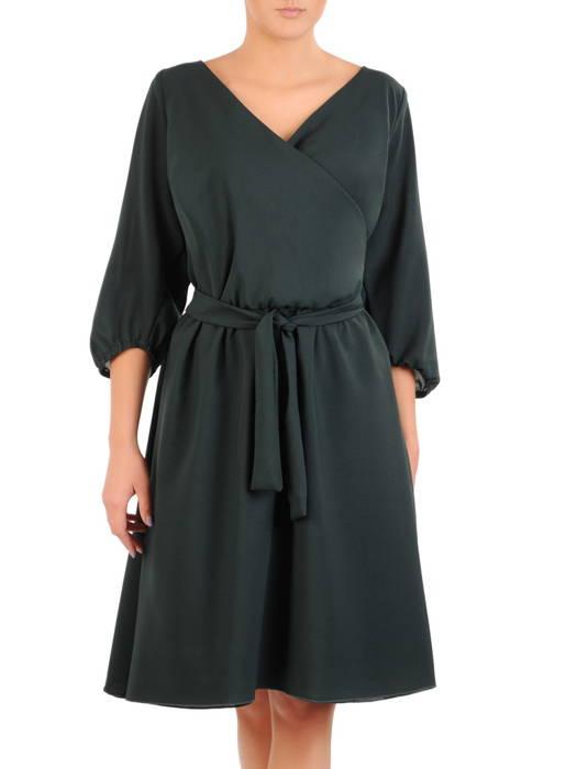Zielona, rozkloszowana sukienka z kopertowym dekoltem 30918
