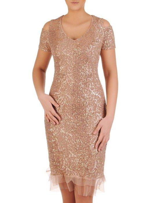Złota sukienka z cekinami i wyciętymi ramionami 24781