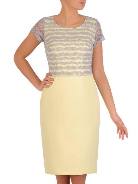 Żółta sukienka z koronkowym topem i wiązaniem na plecach 28296