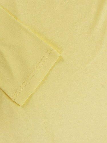Żółta tunika Marcjanna VI, kreacja z asymetryczną narzutką.