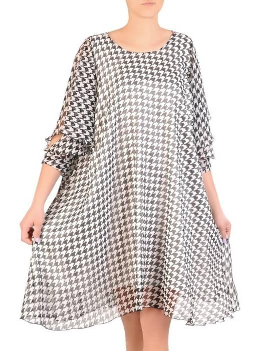 Zwiewna sukienka damska, kreacja z ozdobnie wyciętymi rękawami 29387