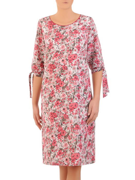 Zwiewna sukienka w kwiaty, kreacja z wiązaniami na rękawach 30795