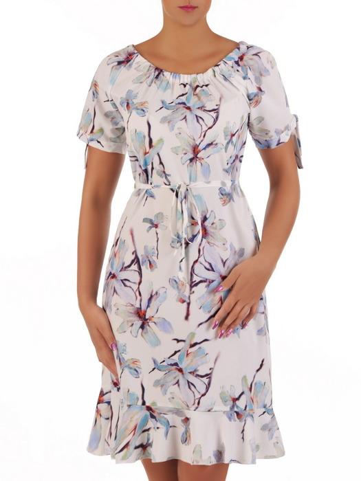 Zwiewna sukienka z falbaną i marszczonym dekoltem 21694