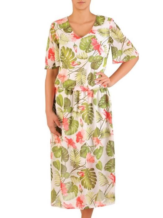 Zwiewna sukienka z szerokimi rękawami, modna kreacja w kwiaty 30316
