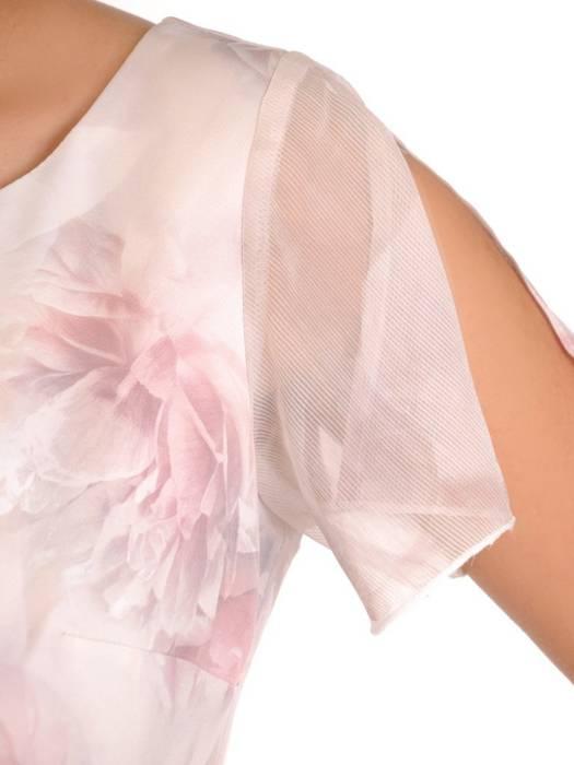 Zwiewna sukienka z szyfonu, kreacja w kwiaty 28204