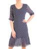 Dzianinowa sukienka z szyfonowymi rękawkami i plisami  29592